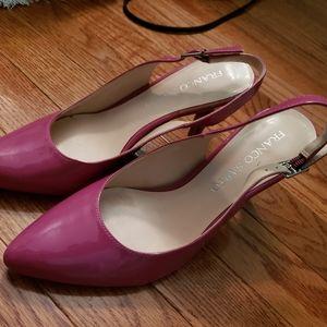 Franco Sarto Pink Patent Leather Sling Back Pumps